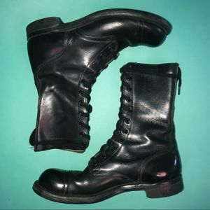 50s-60s leather lace up combat boots. steel toe